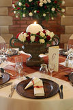 Wedding table setting. With white and red roses Stock Photography