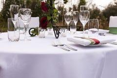 Wedding table setting 3. Outdoor wedding table setting idea stock photos