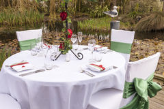 Wedding table setting 4. Outdoor wedding table setting idea Royalty Free Stock Photo