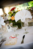 Wedding table setting. Table set for a wedding or catered social event, decorated cookie on the tables Stock Photography
