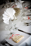 Wedding table setting. Table set for a wedding or catered social event, decorated cookie on the tables Royalty Free Stock Images