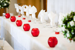 Wedding table. Wedding setting of table Royalty Free Stock Image