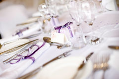 Wedding Table Setting. Wedding Breakfast Table Layout And Gifts stock photography