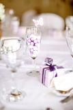 Wedding Table Setting. Wedding Breakfast Table Layout And Gifts stock images