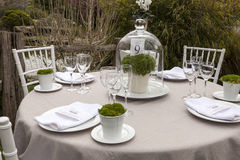 Wedding table setting 9. Outdoor wedding table setting idea, with menu detail royalty free stock image