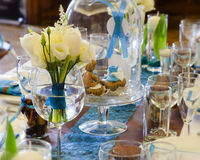 Wedding table. Setting arrangement in a luxury restaurant Stock Images