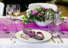 Wedding table. Setting arrangement in a luxury restaurant Stock Photos