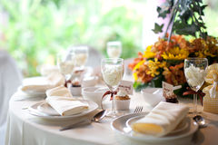 Wedding table setting. Banquet table decoration Royalty Free Stock Photography