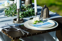 Wedding table setting with candles. Stock Image