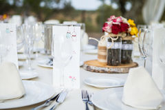 Wedding table setting close up detail. Stock Images