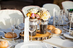 Wedding table setting close up detail. Stock Photo