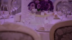 Wedding table setting. stock footage