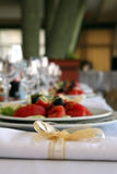 Wedding table setting. Fancy table set for a wedding celebration Royalty Free Stock Photos