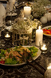 Wedding party table setting. Luxurious party table setting with catering food assortment, cold cuts, salad, gourmet seafood Stock Photo