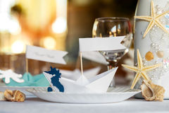 Wedding table setting. Royalty Free Stock Photo