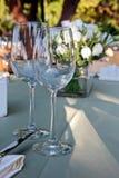Wedding table setting, outdoor Stock Photos
