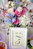 Wedding table setting with plates for Seating chart Royalty Free Stock Photography