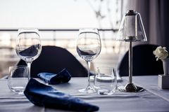 Wedding table setting in restaurant Royalty Free Stock Image