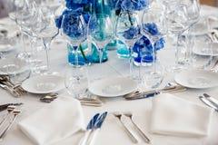 Wedding table setting in restaurant Stock Photos