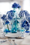 Wedding table setting in restaurant Royalty Free Stock Images