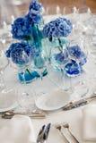 Wedding table setting in restaurant Stock Image