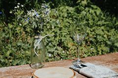 Wedding table setting in rustic style stock image