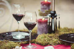 Wedding table setting in rustic style. stock photos