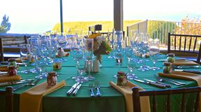 Wedding venue table settings royalty free stock photos