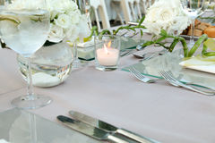 Wedding table setup Royalty Free Stock Photos