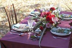 Wedding table setup outdoor. Autumn background Stock Photo