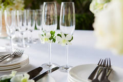 Wedding table setup outdoor Stock Images