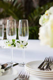 Wedding table setup outdoor Stock Image