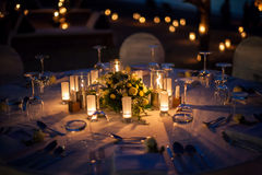 Wedding table setup outdoor Royalty Free Stock Images