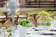 Wedding table set stock photos