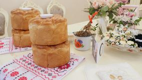 Wedding table with sweet traditional wedding loaf stock video footage