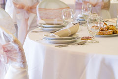 Wedding table with vintage decoration Stock Image
