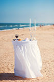 Wedding table at a wedding ceremony on the background of the sea Stock Photography