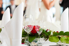 Wedding table at a wedding feast Royalty Free Stock Photo