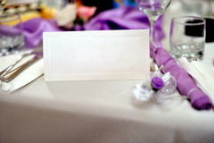 Wedding table with wedding invitation Royalty Free Stock Photos