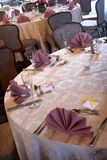 Wedding tables. Set for fine dining during an event with blank name cards Royalty Free Stock Photo