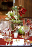 Wedding tables. Fancy table set during a wedding event Royalty Free Stock Photography