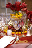 Wedding tables. Fancy table set during a wedding event Stock Photo