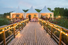 Wedding tables decorated outdoors Royalty Free Stock Photos