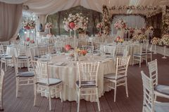 Wedding tables decoration for a wedding. Decoration royalty free stock image