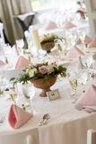 Wedding tables set for fine dining. Tables set for fine dining during a wedding event Stock Photography