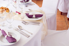 Wedding tables set for fine dining or another catered event Stock Image