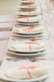 Wedding tables set for fine dining or another catered event Stock Images