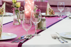 Wedding tables set. Vine glasses Stock Images