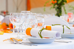 Wedding tables sets Royalty Free Stock Images