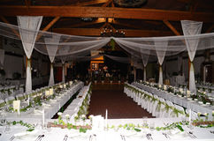 Wedding with tables and stage. Wedding with white tables and large stage stock images